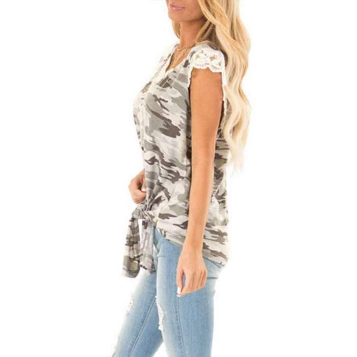 Fashion Lace V neck Lacing T-Shirts