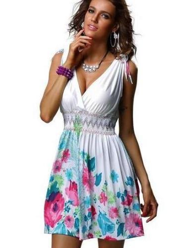 Floral Sleeveless V neck Skater Dresses