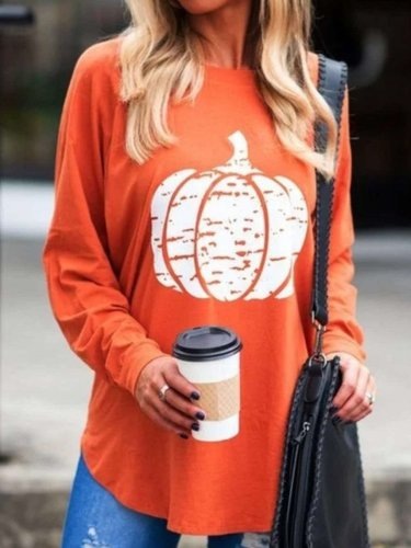 Casual Round neck Long sleeve Print T-Shirts