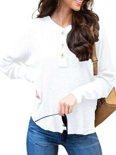 Loose V neck Fastener Knit Long sleeve T-Shirts