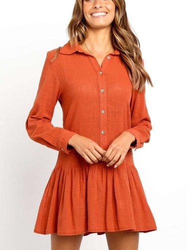 Fashion Drape Long sleeve Lapel Shift Dresses