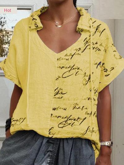 Women Printed V neck Short Sleeve Casual Blouses