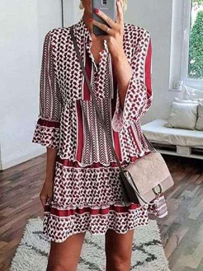 Fashion Print V neck Gored Shift Falbala Dresses