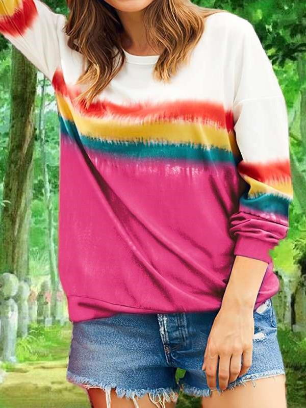 Fashion Casual Stripe print Round neck Long sleeve T-Shirts