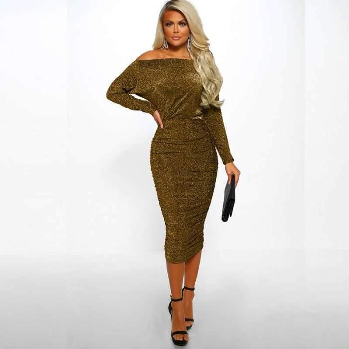 Fashion Sexy Off shoulder  Paillette Bodycon Dresses