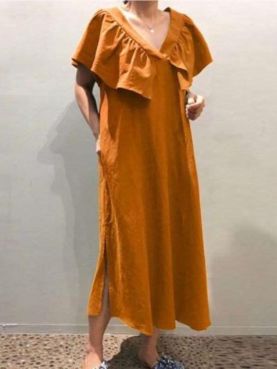 Casual Loose Pure V neck Falbala Cappa Maxi Dresses
