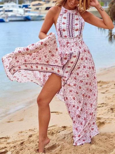 Fashion Print Round neck Sleeveless Skater Vent Maxi Dresses