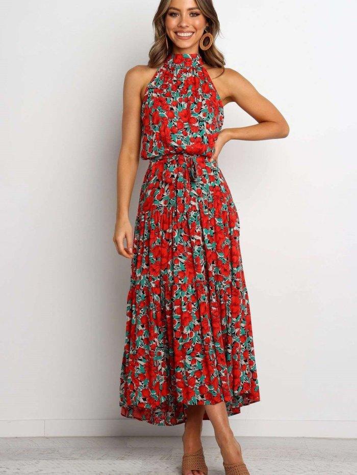 Fashion Print Round neck Sleeveless Maxi Dresses