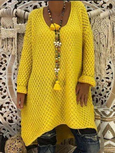 Round Neck Long Sleeve Asymmetrical Hem Knitting Sweaters