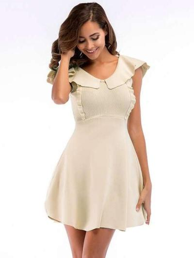 Fashion Pure V neck Sleeveless Skater Dresses