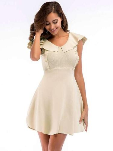 Fashion Pure V neck Sleeveless Skater Dresses