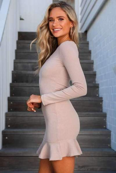 Fashion Pure Long sleeve Round neck  Falbala Bodycon Dresses