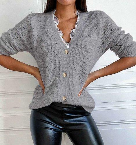 Fashion Lace Gored V neck Long sleeve Knit Sweaters Cardigan