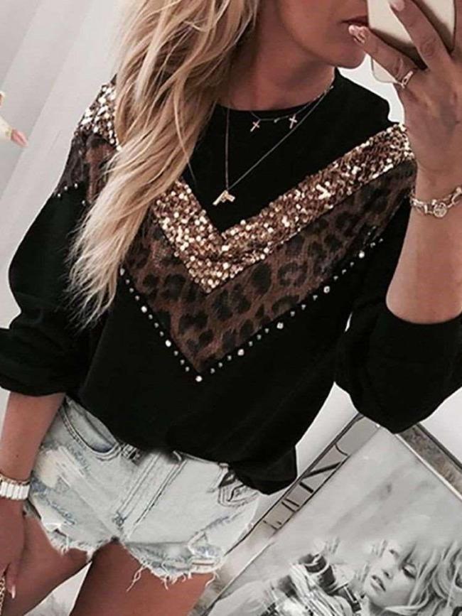 Fashion Gored Long sleeve Round neck Sweatshirts