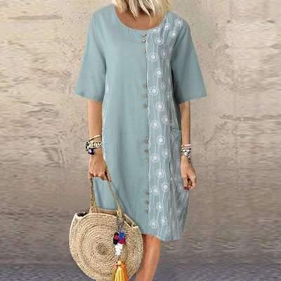 Fashion Casual Print Gored Round neck Shift Dresses