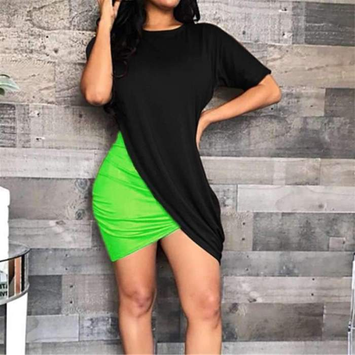 Fashion Round neck Short sleeve Gored Bodycon Dresses