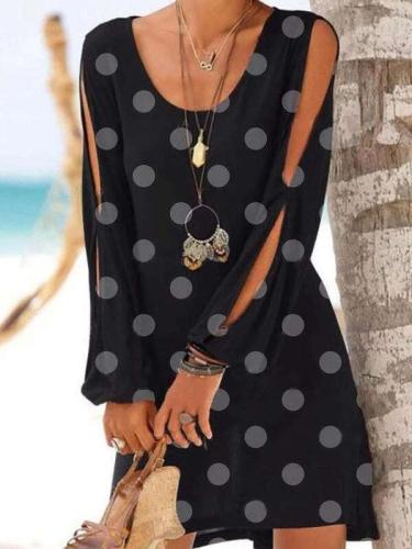 Casual Point print Round neck Long sleeve Shift Dresses