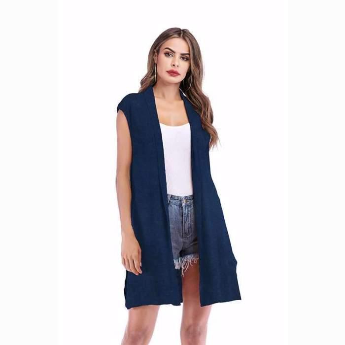 Fashion Pure Sleeveless Cardigan
