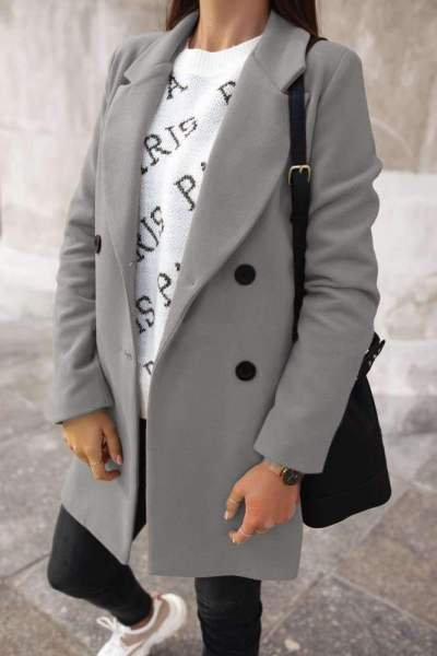 Fashion Pure Lapel Long sleeve Fastener Trench Coats