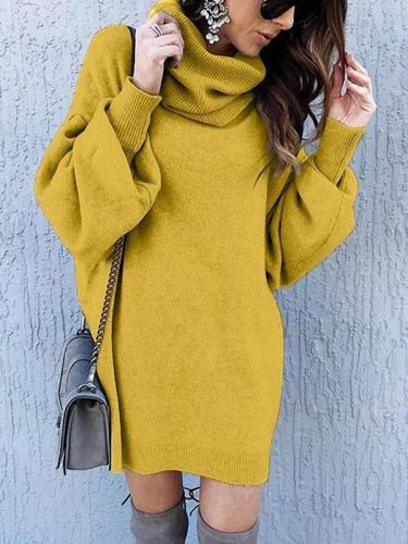 Stylish plain long sleeve high neck shift dresses