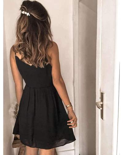 Fashion Casual Pure V neck Vest Sleeveless Skater Dresses
