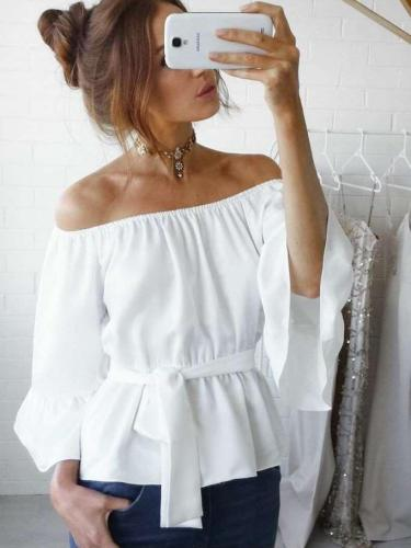 Pure Off shoulder Lacing Blouses