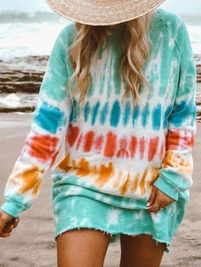 Casula Print Round neck Long sleeve Shift Dresses