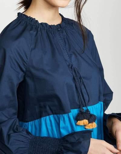Fashion Casual Gored Long sleeve V neck Falbala Shift Dresses