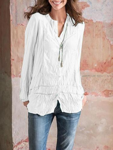 Casual solid women lomg sleeve v neck blouses