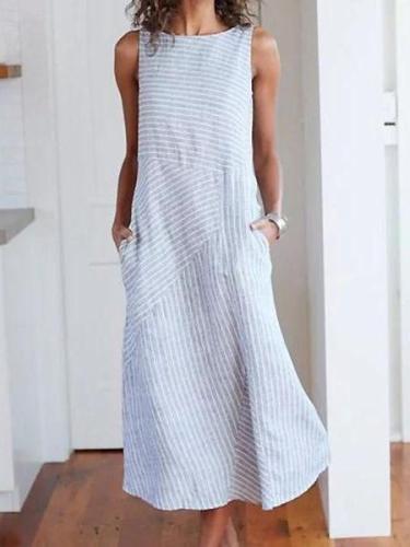 Striped Dresses Crew Neck Shift Daily Dresses