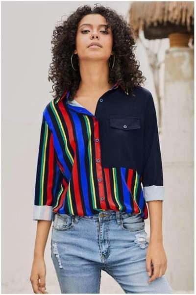 Stripe Lapel Long sleeve Plus Blouses
