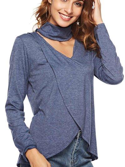 Sexy Long sleeve V neck Tee Irregular T-Shirts