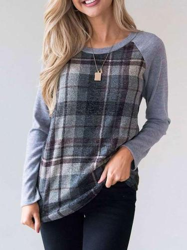 Fashion Plaid Print Round neck T-Shirts