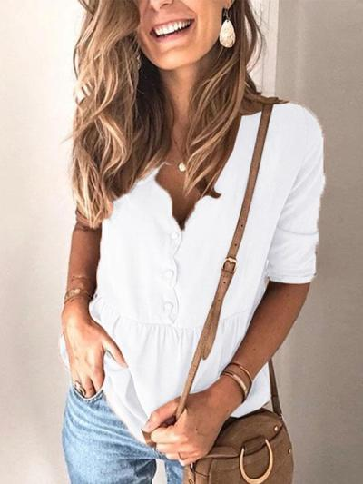 Fashion plain special collar button long sleeve Blouses