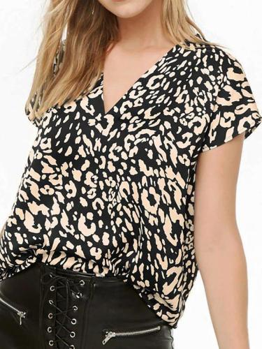 Women Chiffon Leopard Printed Short Sleeve T-shirts