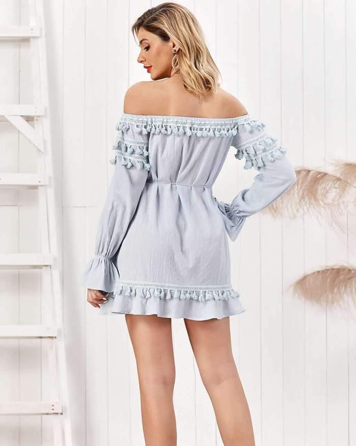 Pure Purl Long sleeve Off shoulder Laing Shift Dresses