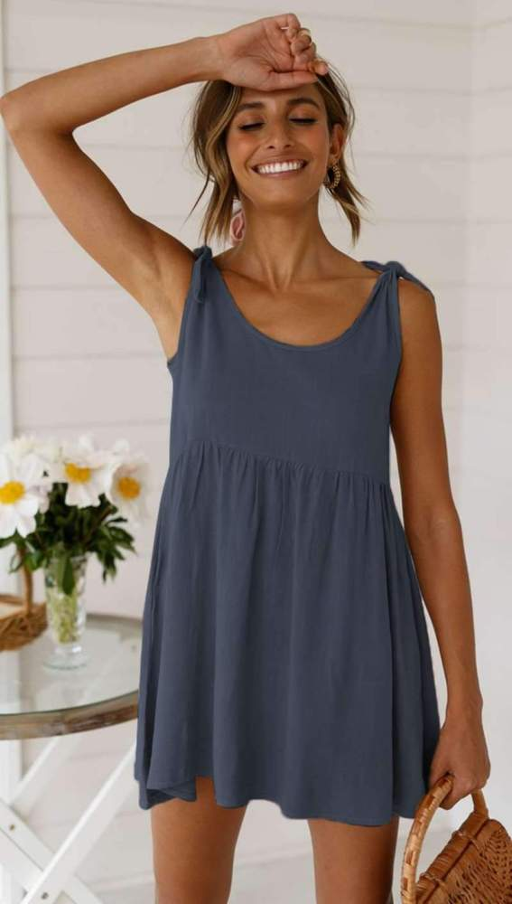 Casual Loose Pure Round neck Gored Shift Dresses