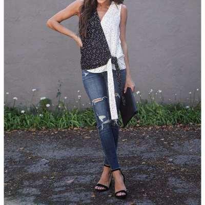 Fashion Gored Sleeveless V neck Point print T-Shirts