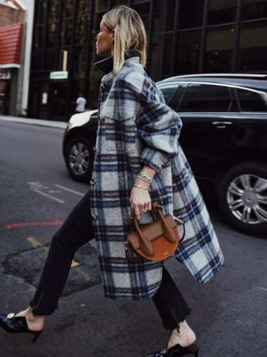 Fashion Plaid Lapel Long sleeve Irregular Trench Coats