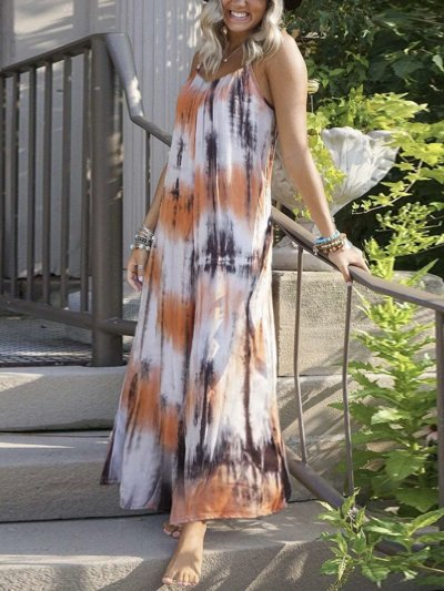 Casual Loose Print Vest Sleeveless Maxi Dresses