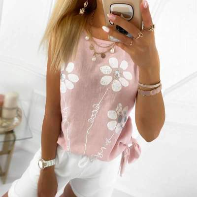 Casual Print Round neck Sleeveless T-Shirts