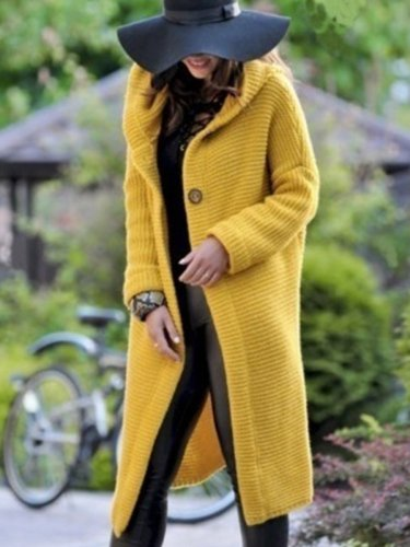 Woman Plain Simple Knitting Sweater Coats