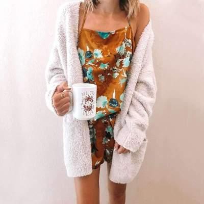 Fashion Plush Knit Cardigan Coat