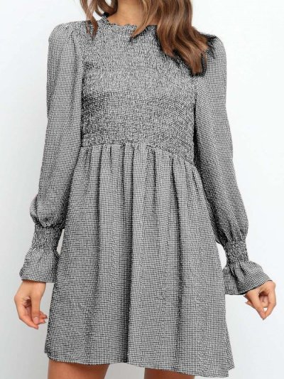 Fashion Casual Plaid Round neck Long sleeve Plicated Skater Dresses