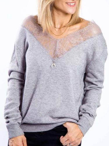 Sexy Off shoulder Lace Hollow V neck Sweaters