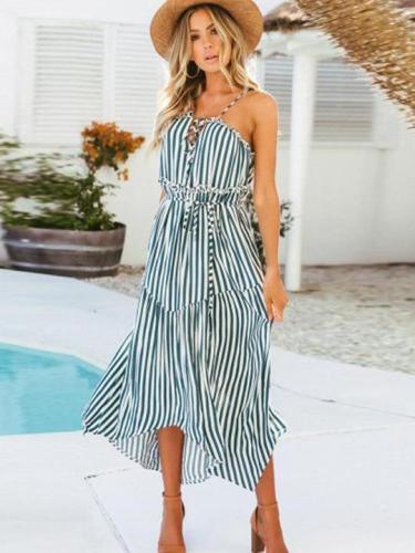 Floral Stripe Vest Lacing Skater Dresses