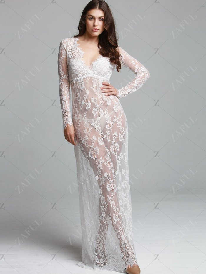 Floor-Length  Lace Adjust Waist Sexy See Through Hollow Out  Evening Dress
