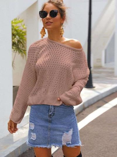 Fashion Loose Hollow out Round neck Knit Sweaters
