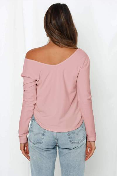 Sexy Pure V neck Off shoulder Long sleeve Knit Sweaters