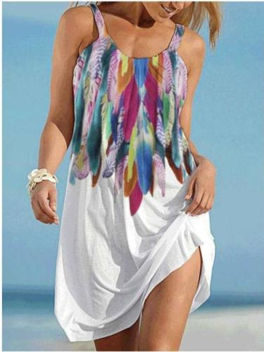 Casual Print Round neck Vest Vacation Dresses